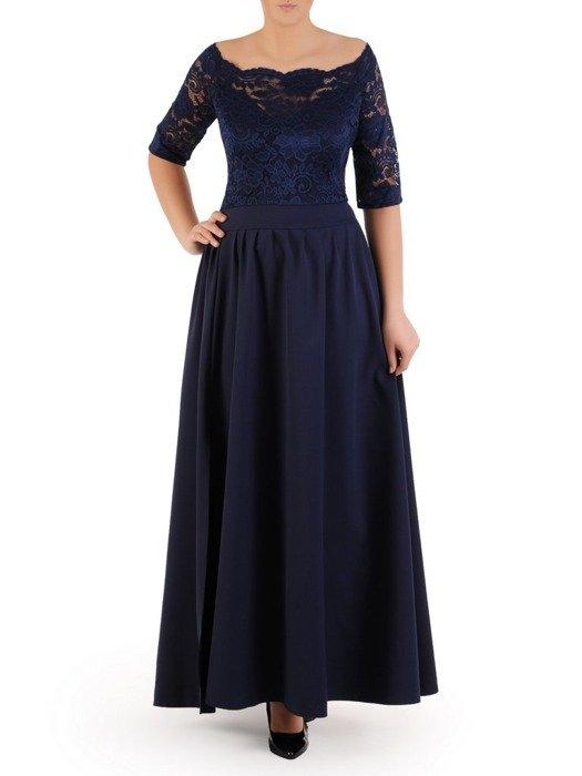 Długa sukienka z koronkowym topem, kreacja z modnym dekoltem 22914