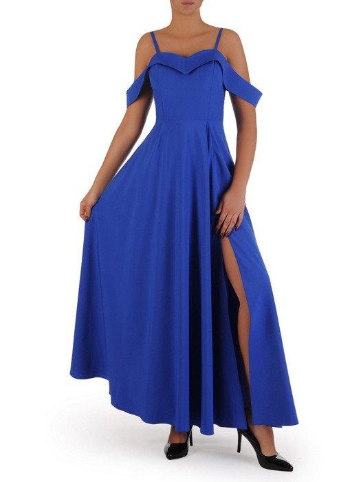Długa sukienka z modnym dekoltem 17935, chabrowa kreacja wieczorowa.