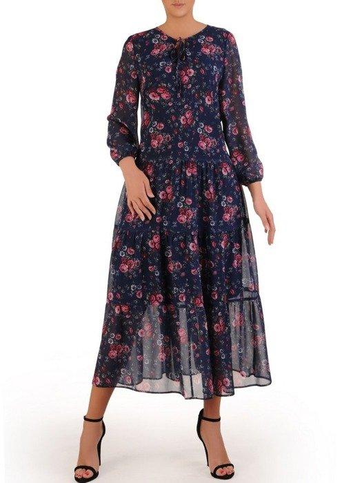 Długa szyfonowa sukienka w kwiaty 25920