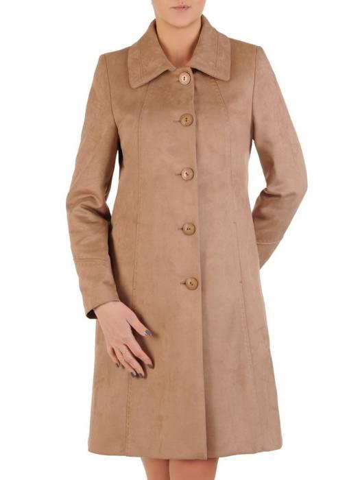 Długi zamszowy płaszcz zapinany na guziki 28508