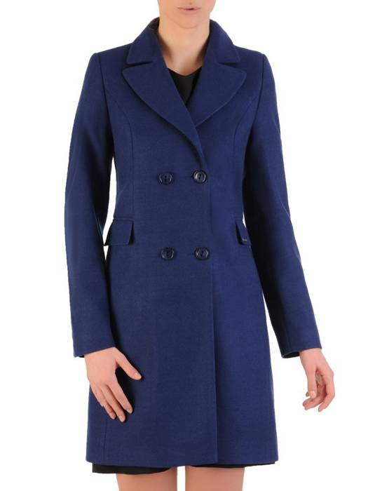 Dwurzędowy płaszcz damski w kolorze granatowym 28522