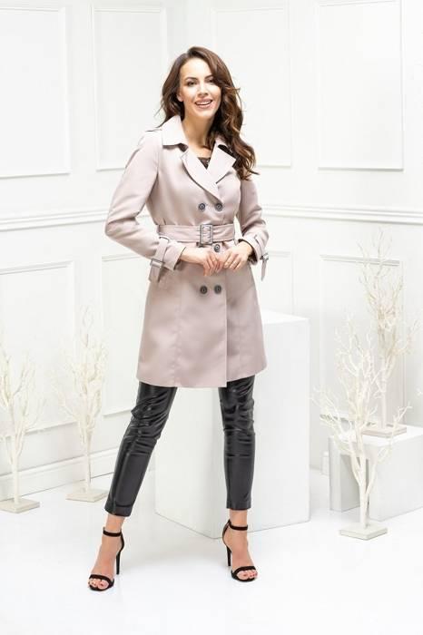 Dwurzędowy płaszcz damski z paskiem 28532