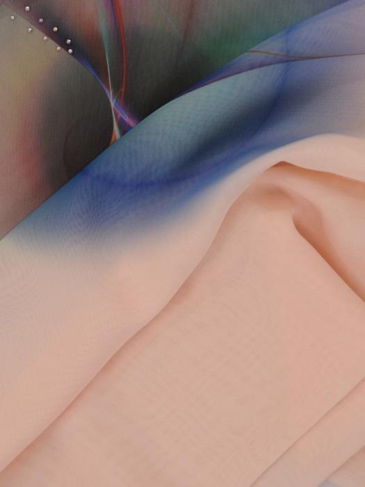 Dwuwarstwowa bluzka z asymetryczną narzutką 21409