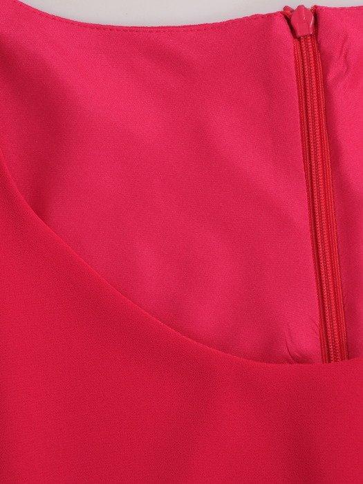 Dwuwarstwowa sukienka z asymetrycznymi zakładkami 18331.