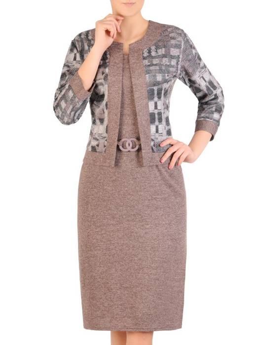 Dzianinowa sukienka, kreacja z imitacją żakietu 29338