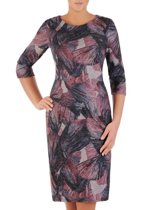 Dzianinowa sukienka w abstrakcyjny wzór, prosta kreacja na jesień  22201.