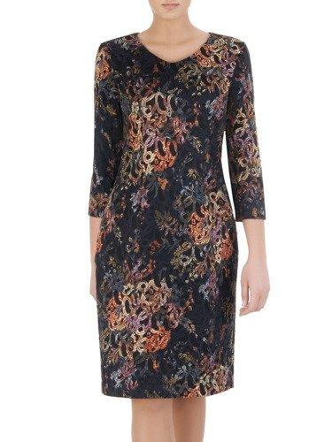 Dzianinowa sukienka w kolorowy wzór Eleonora I, prosta sukienka w jesiennych barwach.
