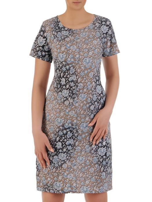 Dzianinowa sukienka w kwiatowy wzór, prosta kreacja na wiosnę 20820
