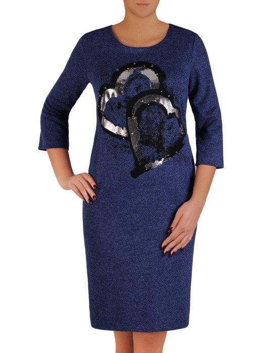 Dzianinowa sukienka z efektowną aplikacją 18509.