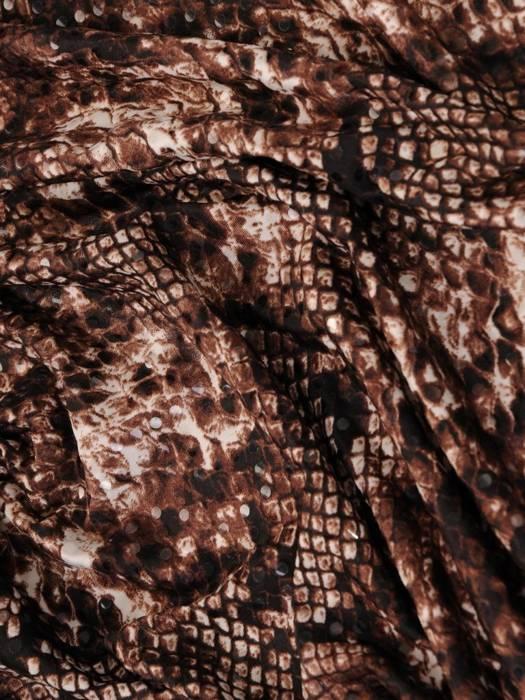 Dzianinowa sukienka z kopertowym dekoltem, kreacja w zwierzęcym wzorze 27994