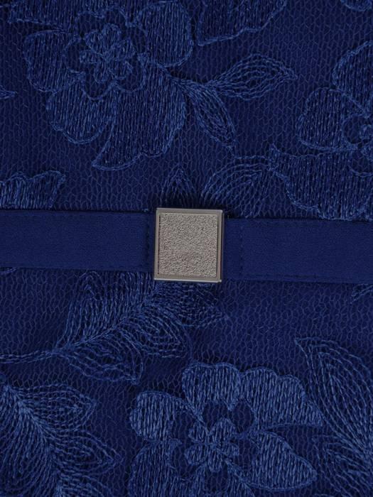 Dzianinowa sukienka z modną baskinką, jesienna kreacja wykończona koronką 27033
