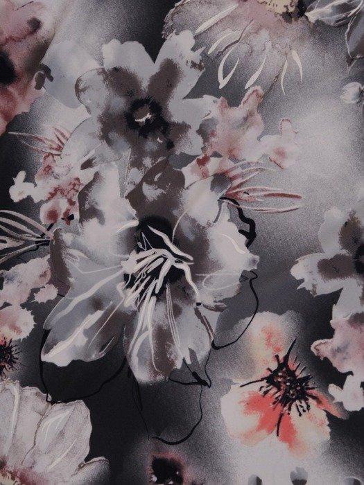 Dzianinowa sukienka z szyfonowymi rękawkami i falbanami 25734