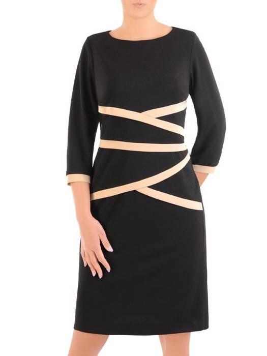 Dzianinowa sukienka z wyszczuplającymi, kontrastowymi wstawkami 30478