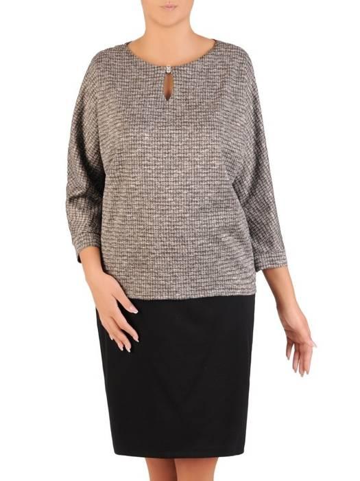 Dzianinowy komplet damski, prosta spódnica z elegancką bluzką 27073