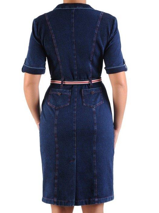 Dżinsowa sukienka wiązana w pasie, modna kreacja z dzianiny 25381