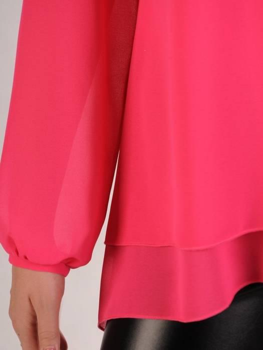 Elegancka amarantowa bluzka z dłuższym tyłem 29252