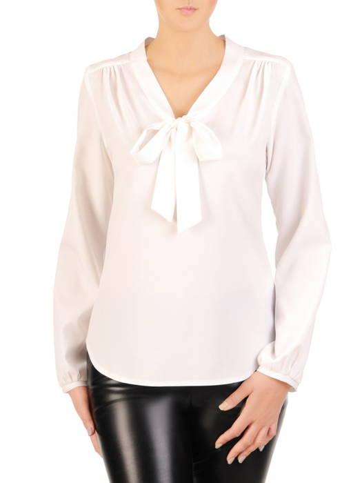 Elegancka, biała bluzka z ozdobnym wiązaniem 30617