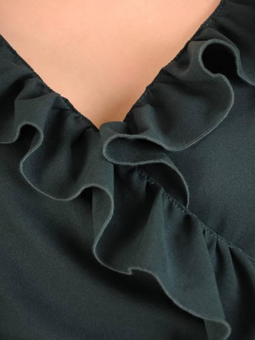 Elegancka, kopertowa sukienka z ozdobnymi falbanami 29542