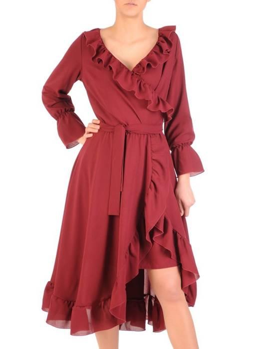 Elegancka, kopertowa sukienka z ozdobnymi falbanami 29544