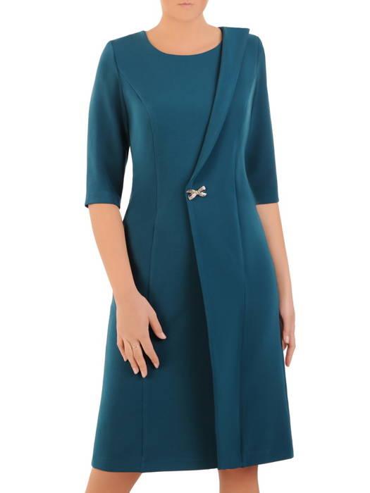 Elegancka morska sukienka, kreacja z ozdobnie wyciętym przodem 30816