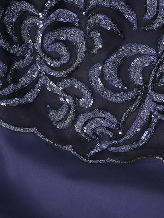 Elegancka sukienka damska, granatowa kreacja z koronkowym topem 29807