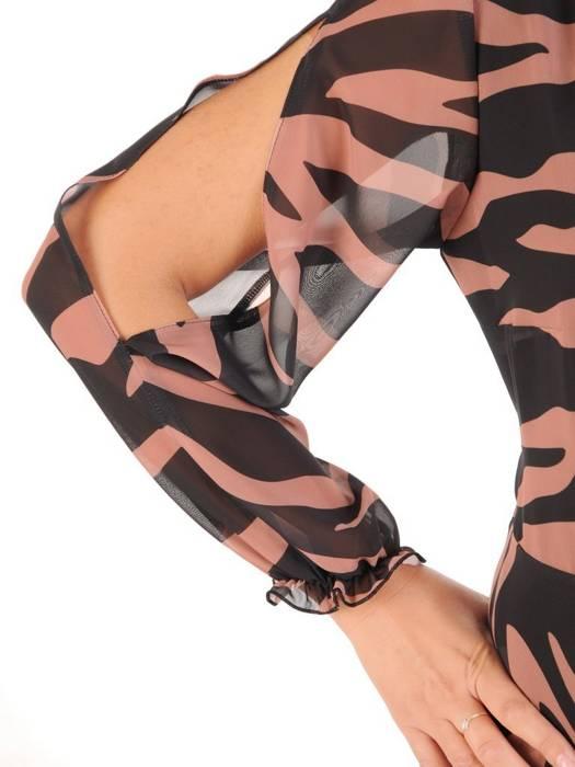 Elegancka sukienka maxi, kreacja z ozdobnymi rozcięciami na rękawach 30023