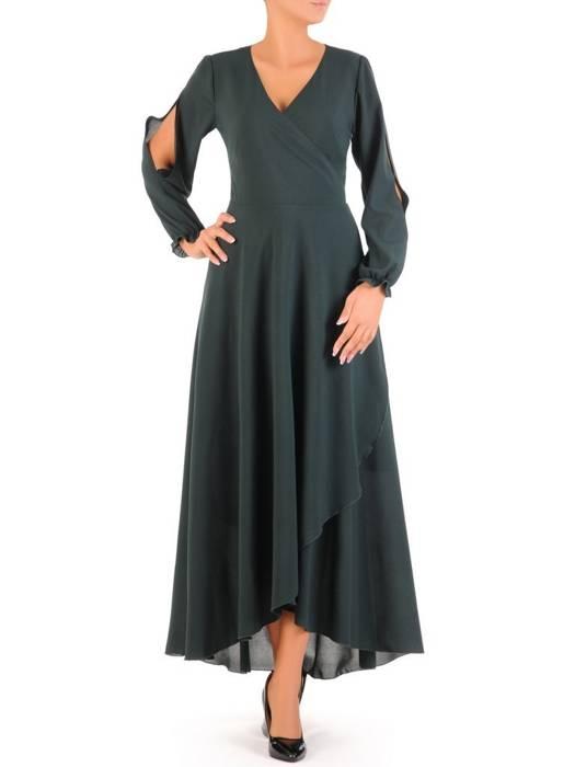Elegancka sukienka maxi, kreacja z ozdobnymi rozcięciami na rękawach 31234