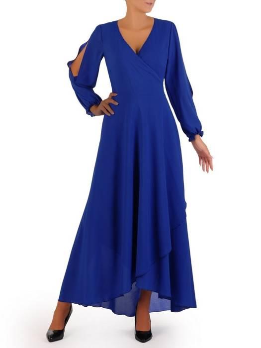 Elegancka sukienka maxi, kreacja z ozdobnymi rozcięciami na rękawach 31235