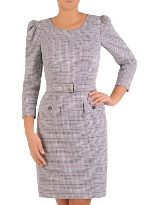 Elegancka sukienka w kratkę z marszczonymi rękawami 27596
