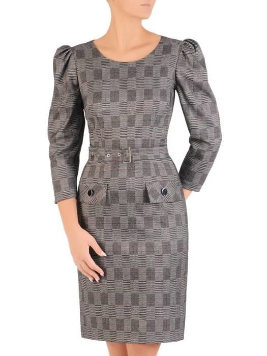 Elegancka sukienka w kratkę  z marszczonymi rękawami 27605