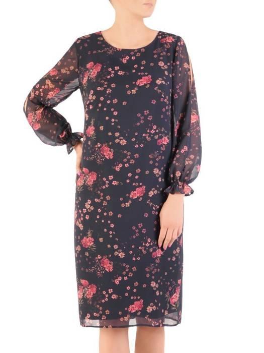 Elegancka sukienka w kwiaty z ozdobnie wyciętymi rękawami 30038