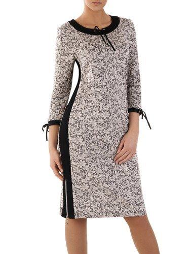 Elegancka sukienka wykończona czarnymi lamówkami Szarlota VI