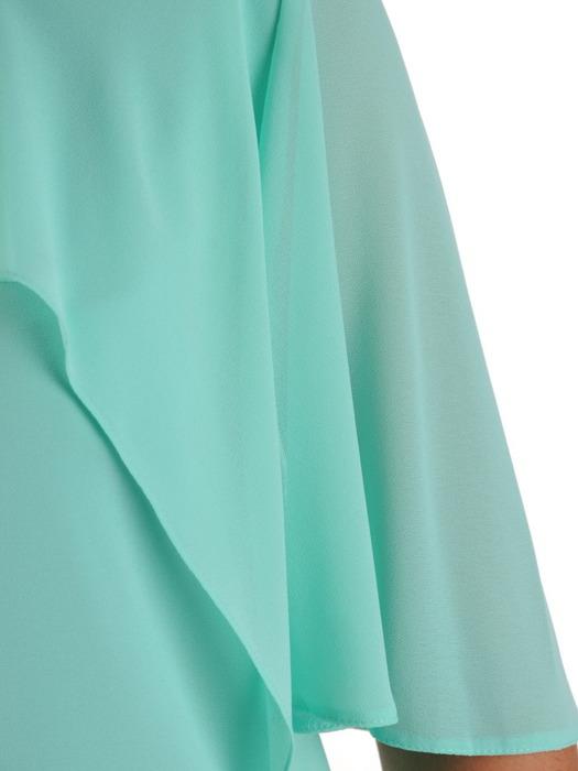 Elegancka sukienka z asymetryczną falbaną przy dekolcie 22957