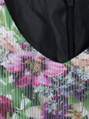 Elegancka sukienka z baskinką Elfryda, wizytowa kreacja w kwiaty.