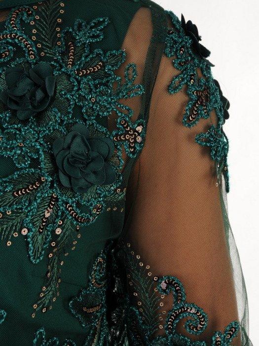 Elegancka sukienka z koronkowym bolerkiem 18382, zielona kreacja na wesele.