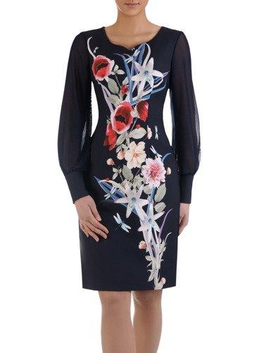 Elegancka sukienka z kwiatowym nadrukiem 15010, kreacja z tiulowymi rękawami.