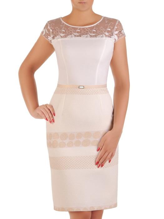 Elegancka sukienka z łączonych tkanin, jasna kreacja z przeźroczystym karczkiem 21364