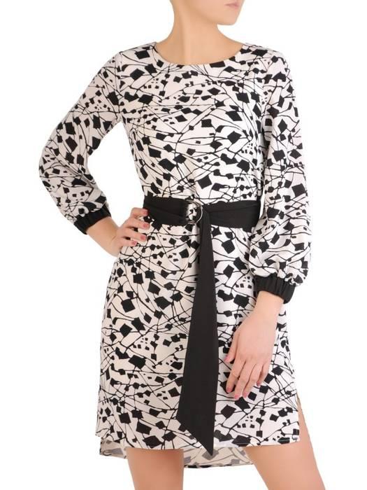 Elegancka sukienka z paskiem i gumkami na rękawach 29281