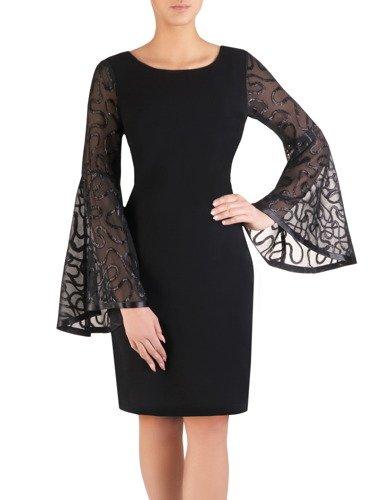 Elegancka sukienka z rozszerzanymi rękawami 14457, modna kreacja wieczorowa.