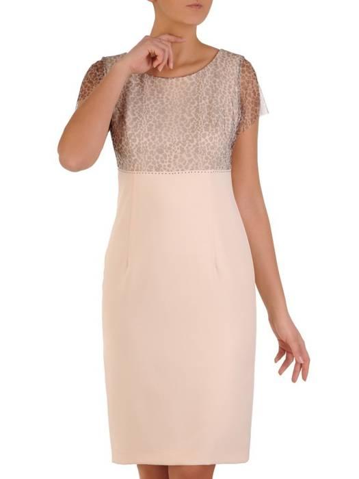 Elegancka sukienka z szyfonową górą w zwierzęcy wzór 28186