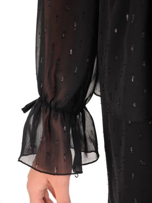 Elegancka sukienka z szyfonu, kreacja z modnym wiązanym dekoltem 27897