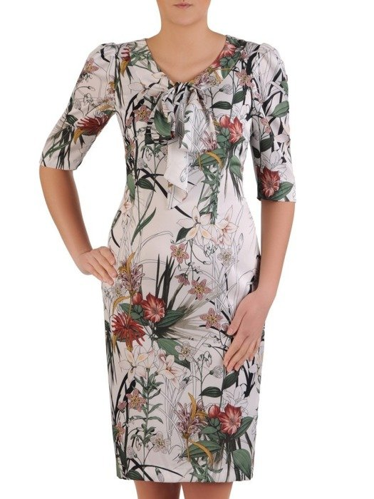 Elegancka sukienka z wiązaną kokardą i bufiastymi rękawami 25492