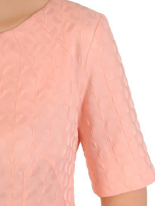 Elegancka sukienka z żakardowej tkaniny, kreacja w pastelowym kolorze 29811