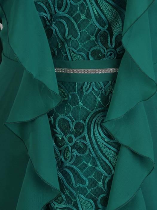 Elegancka szmaragdowa sukienka, zwiewna kreacja z szyfonu i koronki 28115