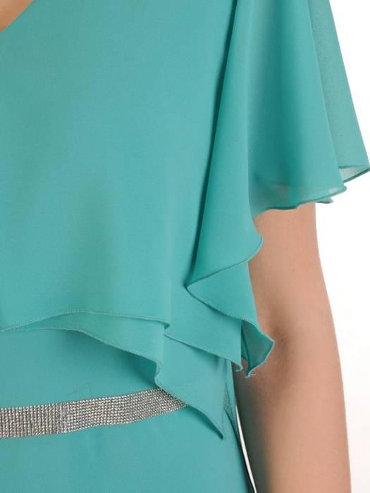 Elegancka turkusowa sukienka z ozdobnymi cyrkoniami 29845