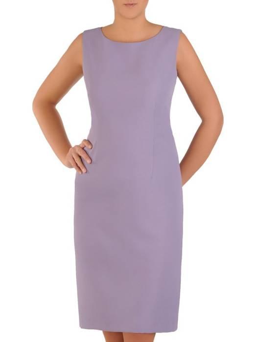 Elegancki komplet damski, wrzosowa sukienka z szyfonową bluzką 28165