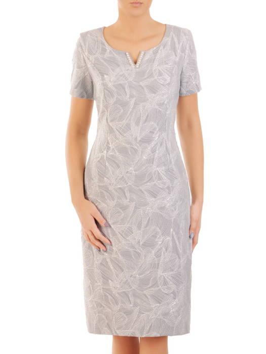 Elegancki kostium damski z żakardową sukienką zdobioną perłami 31143