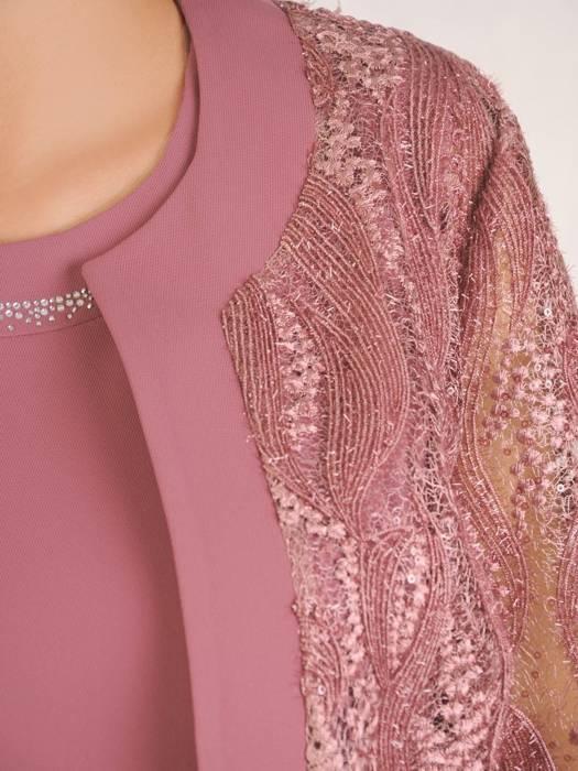 Elegancki pastelowy komplet, prosta sukienka z koronkowym żakietem 30415