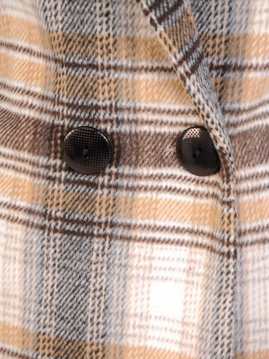 Flauszowy płaszcz damski z kołnierzem i kieszeniami 30755