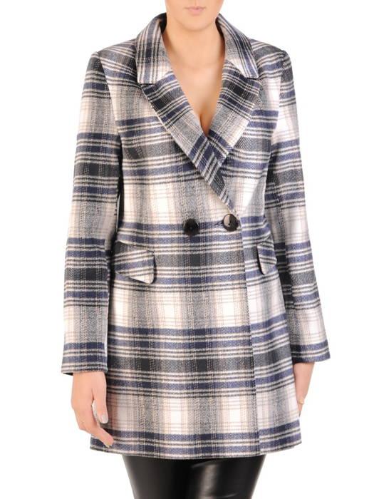 Flauszowy płaszcz damski z kołnierzem i kieszeniami 30756